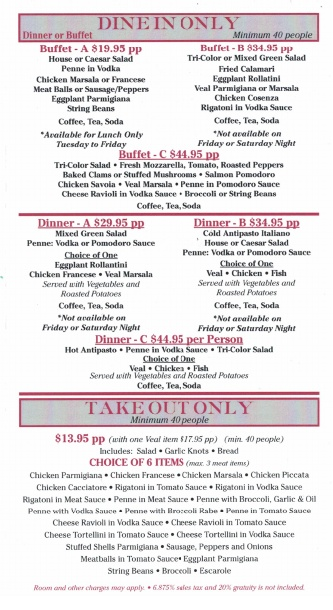 Dante's Italian Restaurant - Party Menu