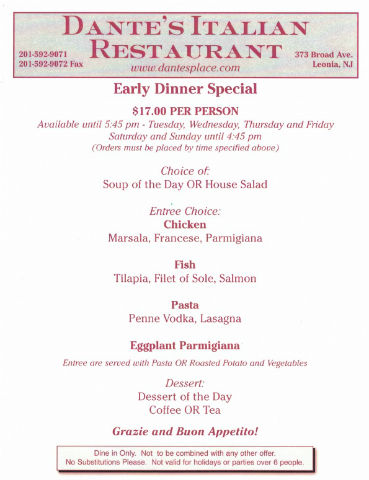 Dante's Place - Early Bird Special